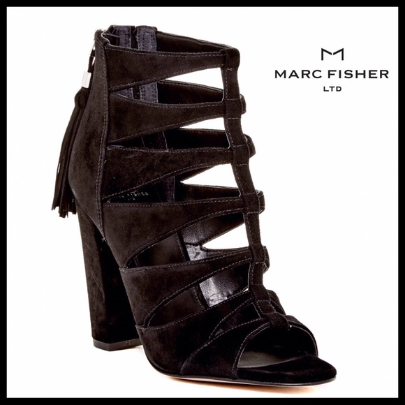 72e7658c119c MARC FISHER CAGED SUEDE ANKLE STRAP HEELS
